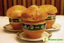 Суп из белых грибов в горшочках