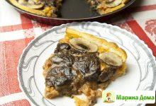 Открытый пирог с грибами